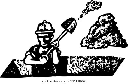 Black and white vector illustration of a construction worker digging a ditch