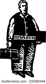 Black and white vector illustration of contractor