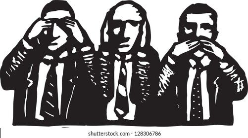 Black and white vector illustration of corporate culture