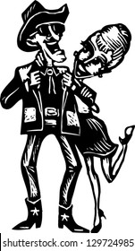 Black and white vector illustration of country western couple