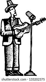 Black and white vector illustration of country singer