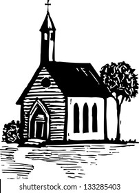 Black and white vector illustration of country church