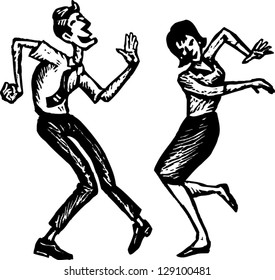 Black and white vector illustration of a couple dancing