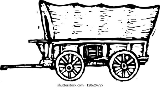 Black and white vector illustration of covered wagon