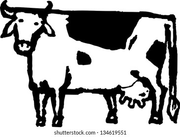 Black and white vector illustration of a cow