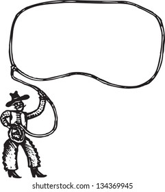 Black and white vector illustration of Cowboy with Rope Lasso