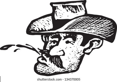 Black and white vector illustration of Cowboy Spitting Chewing Tobacco Juice