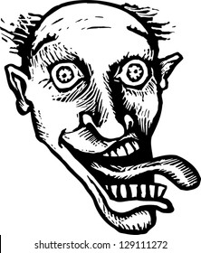 Black and white vector illustration of a crazy man
