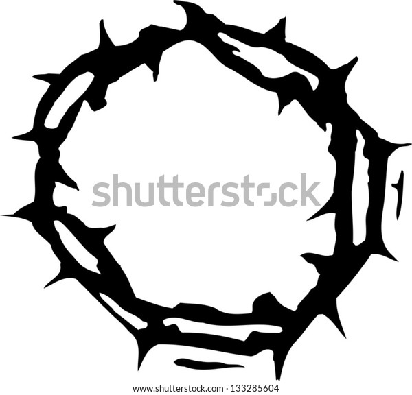 Black and white vector illustration of crown of thorns