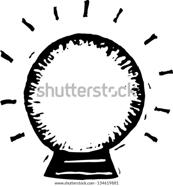 Black and white vector illustration of Crystal Ball