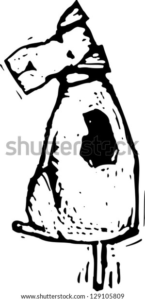 Black and white vector illustration of a cute fox terrier dog