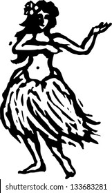 Black and white vector illustration of dancing hula girl