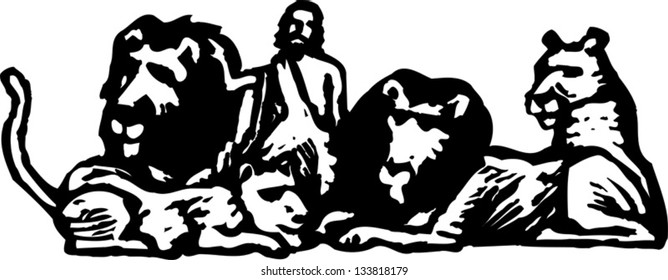 Black and white vector illustration of Daniel and lions