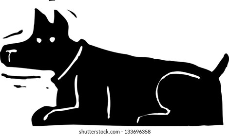 Black and white vector illustration of a dashboard bobble head dog