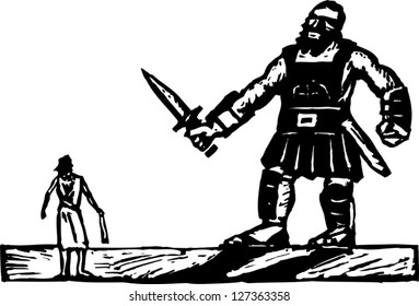 Black and white vector illustration of David and Goliath
