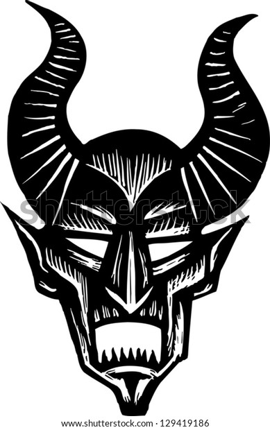 Black and white vector illustration of a demon face