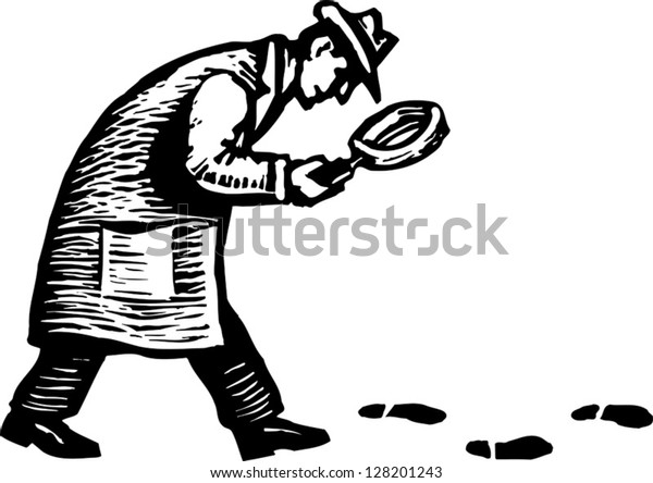 Black and white vector illustration of detective with magnifying glass following footprints and clues