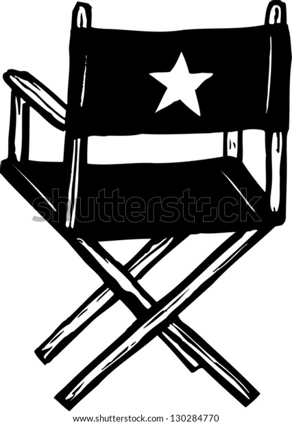 Black and white vector illustration of director chair