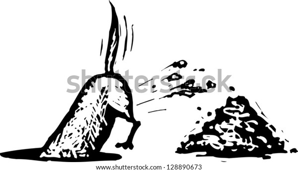 Black and white vector illustration of a dog digging