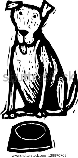 Black and white vector illustration of a dog and an empty bowl