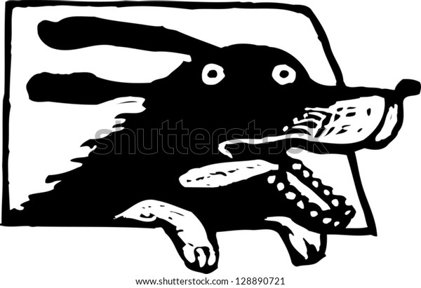 Black and white vector illustration of a dog in a car