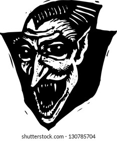Black and white vector illustration of Dracula