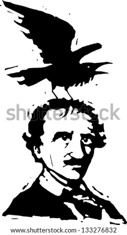 Black and white vector illustration of Edgar Allan Poe with raven