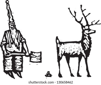 Black and white vector illustration of an elf and a reindeer