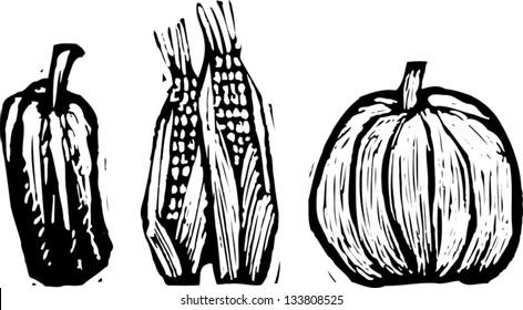Black and white vector illustration of fall harvest vegetables