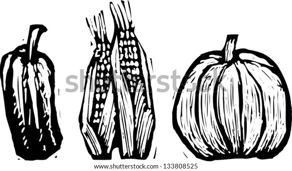 Black and white vector illustration of fall harvest vegetables