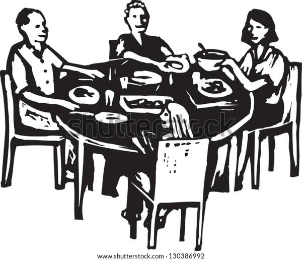 Black and white vector illustration of family dinner