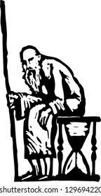 Black and white vector illustration of Father Time