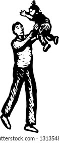 Black and white vector illustration of father tossing his child in air