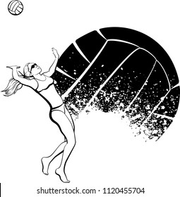 Black and white vector illustration of a female beach volleyball player spiking with a sand splattered volleyball background.