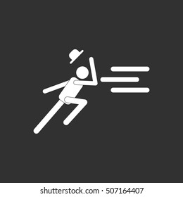 black and white Vector illustration in flat design of man running in storm