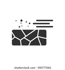 black and white Vector illustration in flat design of cracked earth and wind