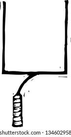 Black and white vector illustration of Football Goal Post