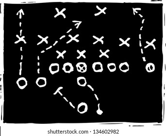 Black and white vector illustration of Football Game
