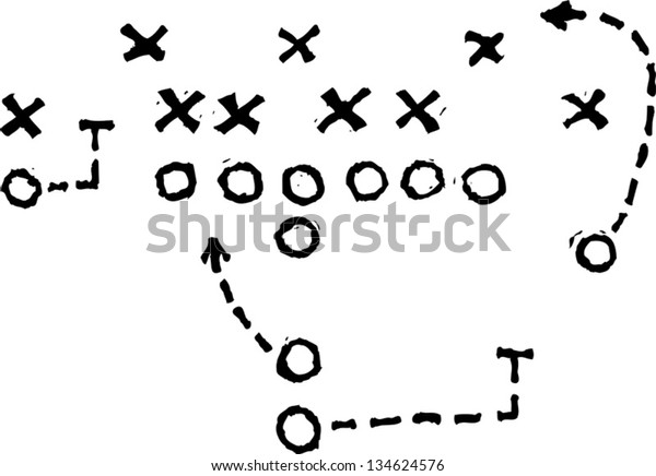Black and white vector illustration of Football Play