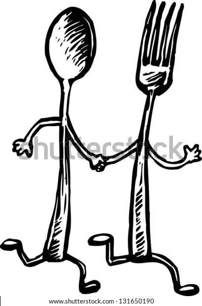 Black and white vector illustration of fork and spoon running while holding hands