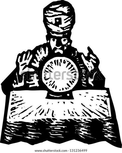 Black and white vector illustration of fortune teller with crystal ball