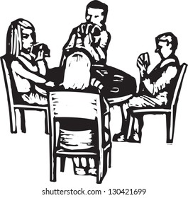 Black and white vector illustration of friends playing cards