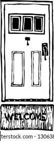 Black and white vector illustration of front door