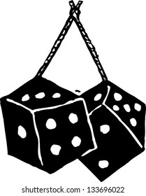 Black and white vector illustration of fuzzy dice