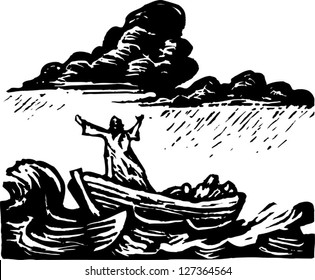 Black and white vector illustration of Galilee