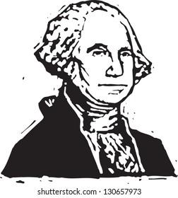 Black and white vector illustration of George Washington