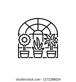Black & white vector illustration of glass conservatory with decorative home plants in containers. Line icon of indoor sunroom with 3 potted houseplants. Isolated object on white background.