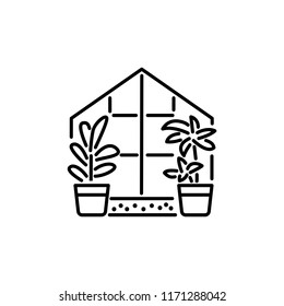 Black & white vector illustration of glass conservatory with decorative home plants in containers. Line icon of indoor sunroom with 2 potted houseplants. Isolated object on white background.