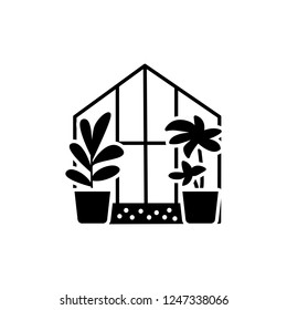 Black & white vector illustration of glass conservatory with decorative home plants in containers. Flat icon of indoor sunroom with  potted houseplants. Isolated object on white background