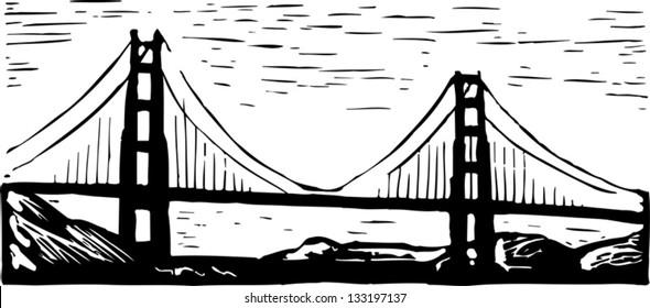 Black and white vector illustration of Golden Gate bridge